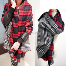 Free Shipping ZA Cashmere Scarf Winter Scarves (180cm*80cm) Plaid Double-Sided Soft Faced Plaid Thicken Warm cape Shawl Scarves(China (Mainland))