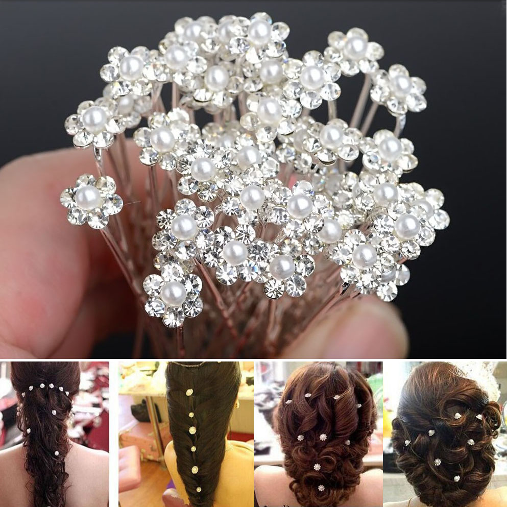 A16 Wholesale 20Pcs Lots Wedding Bridal Bridesmaid Pearl Flower Hair Pin Clips U Pick Jewelry Party