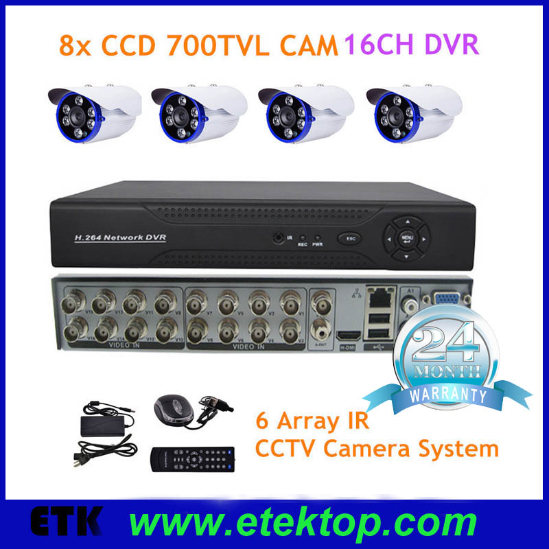 CCTV Video Security Surveillance Camera System, 8 Bullet HD 3MP Waterproof Outdoor Indoor Cameras and 1 PC of 16-Channel DVR Kit(China (Mainland))
