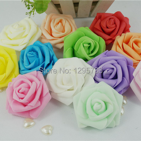 (100 pcs/lot) 12 colors 7cm 5layers foam rose decorative flower head handmade DIY wedding home decoration artificial flower(China (Mainland))