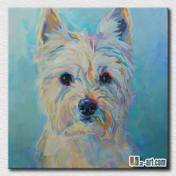 Lovely animal art thick textured dog painting modern kids for 24x24 casa moderna