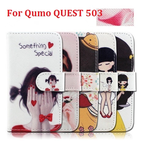 New Cheap Cell Phones Cover with Credit Card Slot Stand Flip Leather Wallet Cartoon & Fashion Case for Qumo QUEST 503(China (Mainland))