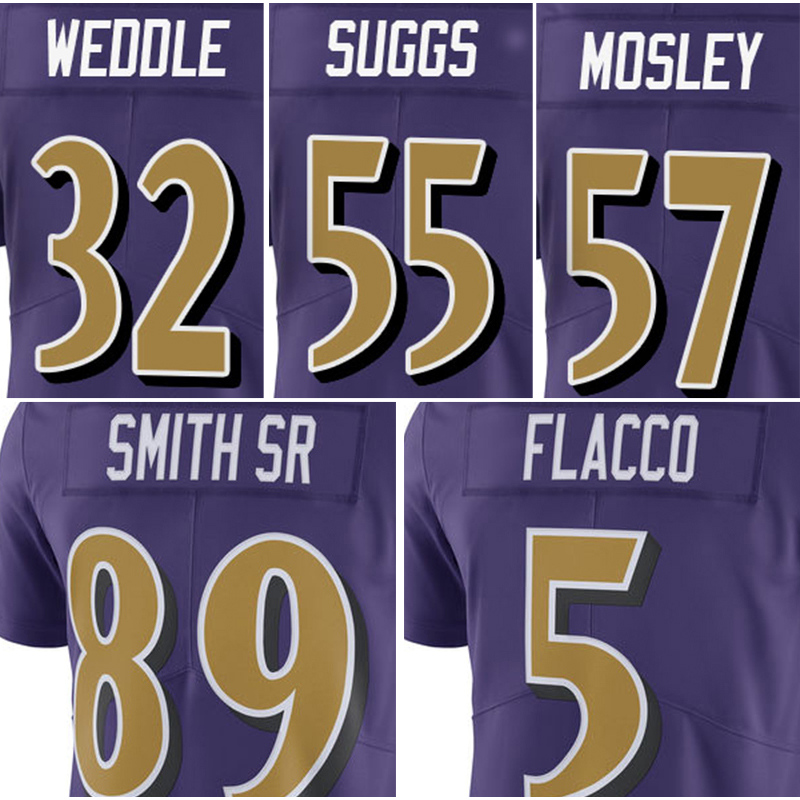 Men's #5 Joe Flacco #57 C.J. Mosley Jersey Adult #89 Steve Smith Sr #32 Eric Weddle 55 Terrell Suggs Purple Rush Limited Jerseys(China (Mainland))
