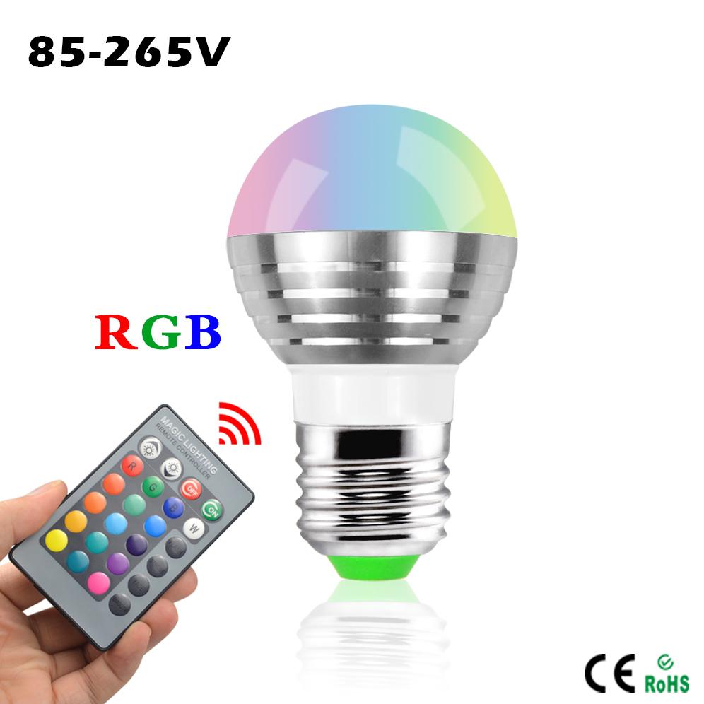 1Pcs Lovely 16 Colors RGB Christmas Decor Atmosphere LED Night light E27 3W 110V - 220V LED lamp Spotlight Bulb + IR Remote(China (Mainland))