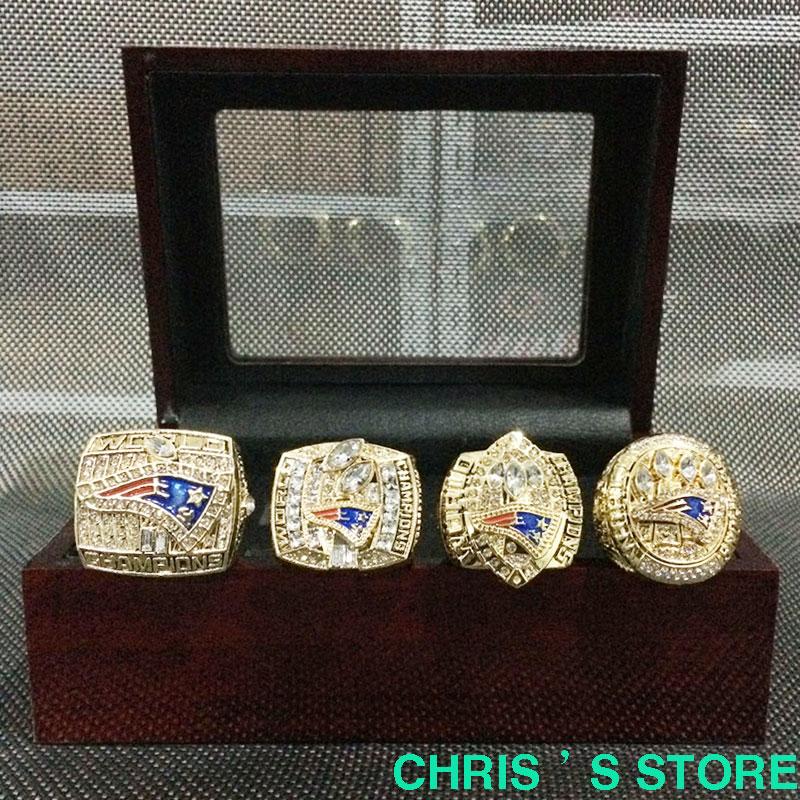 24 k gold ring 4pcs/set 2001 2003 2004 2014 New England Patriots Super Bowl Championship Rings Set ,Drop Shipping(China (Mainland))