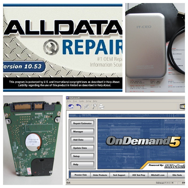2016 Hot! Alldata 10.53+2015 Mitchell and auto 3.38 750G hard disk HDD car repair software fit all 32&64bit system(China (Mainland))