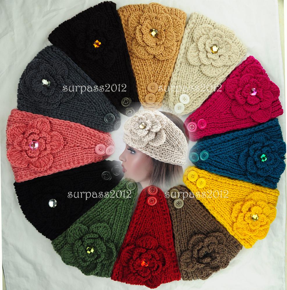 Big Size Flower Crysta Women Lady Headband Knit Crochet Headwrap
