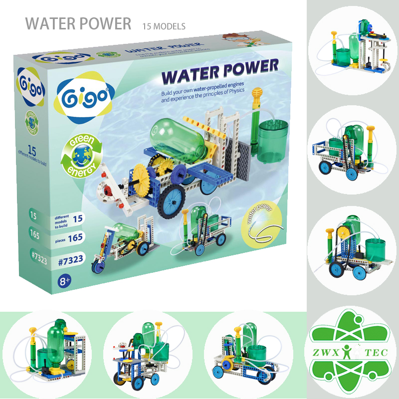 #7323 Gigo toy 165PCS 15 vehicles propelled by a hydropneumatic motor Green Energy Series Water Power Spraying Car toys/juguetes(China (Mainland))