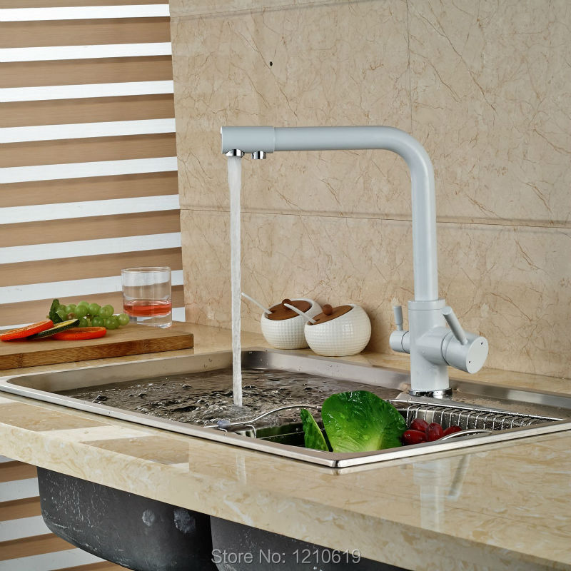 Фотография Newly White Painting Baked Kitchen Pur Water Faucet Single Hole Sink Faucet Basin Mixer Tap Deck Mount