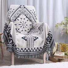 Cotton blue and white rhombus grid sofa blanket office lunch full cover air conditioning multi - functional knitting blanket(China (Mainland))