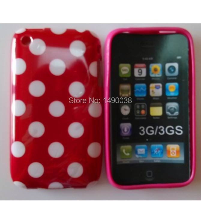 Hot Lovely TPU Polka Dots Style Back Skin Cover Case for For Apple iPhone 3 3G 3GS Soft Phone Case Free(China (Mainland))