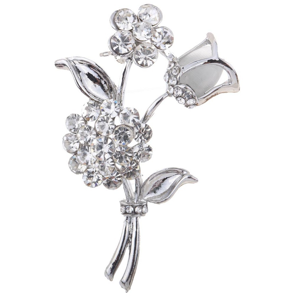 Fashion Noble Silver Plated Rose Flower Shaped Curve Full Shining Brooches for wedding Girl Wholesale Free Shipping(China (Mainland))