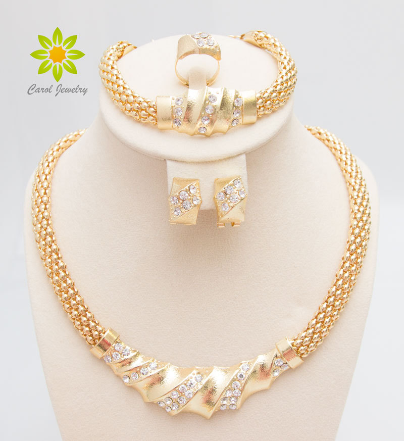 Free Shipping African Gold Plated Charming Fashion Romantic Bridal Fashion Necklace Crystal Vintage Women Costume Jewlery Sets(China (Mainland))
