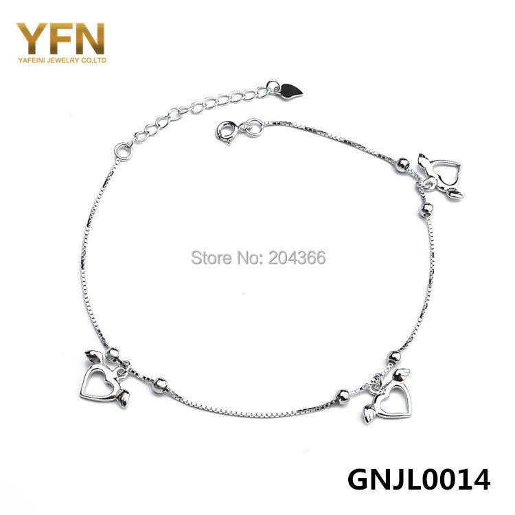 GNJL0014 Summer Style Pulseras Genuine 925 Sterling Silver Foot Jewelry Anklets For Women Fashion Silver Foot Bracelet(China (Mainland))