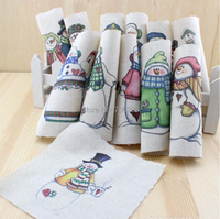 Hand dyed 12 Assorted  Cotton Linen Printed Quilt Fabric For DIY Sewing Patchwork Home Textile Decor 15X15cm cartoon snowman