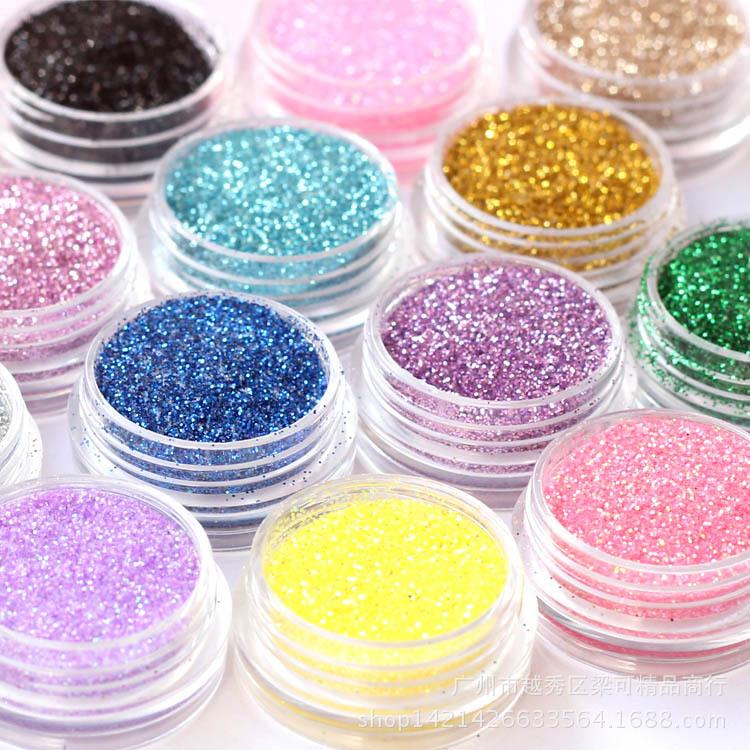24 Colors Colored Acrylic Powder Nail Art Decorations Acrylic Glitter Nail Powder Shine Tinsel Glitter Polish Nail Dust ZJ1317(China (Mainland))