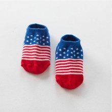 0-4Y Children Toddler Kids Baby Flag Pattern Cotton Anti-slip Casual Ankle Socks