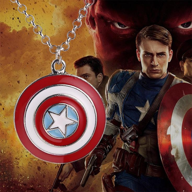 Cool Avengers Brand New Marvel Super Hero Captain America Shield Action Figure Pendant Necklace - Festware Jeweler store