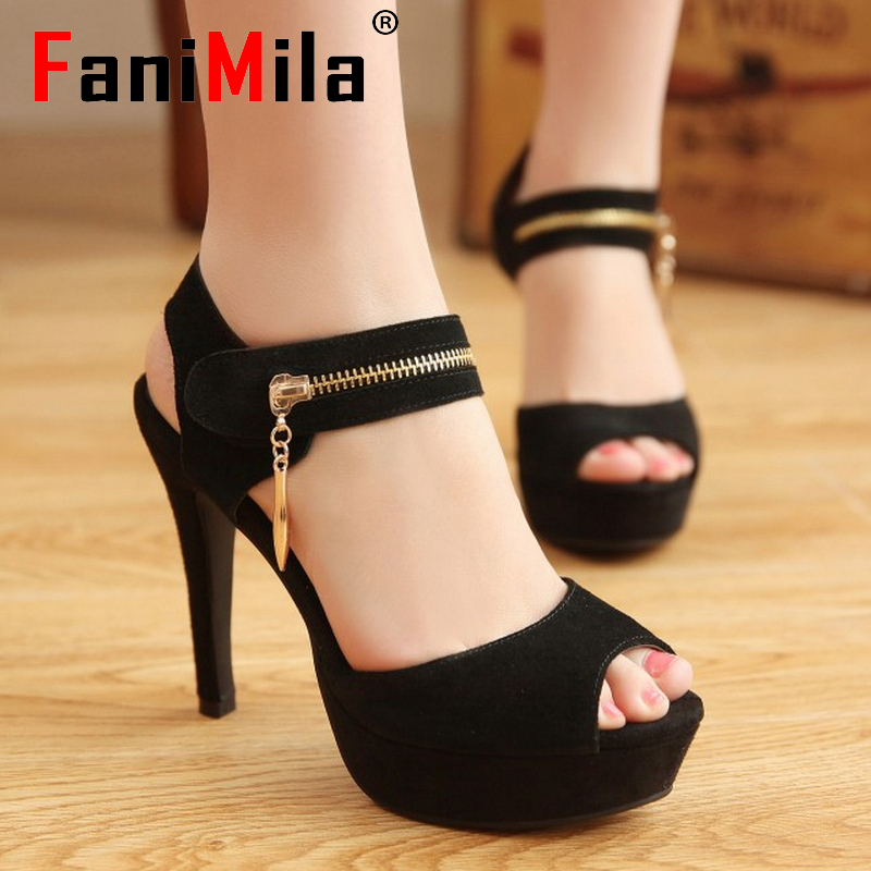 women real genuine leather stiletto platform high heel sandals sexy fashion brand heeled ladies shoes size 34-39 R5740<br><br>Aliexpress