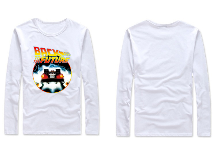 Back To The Future Movie Logo Delorean men Adult T Shirt long sleeve black white red(China (Mainland))