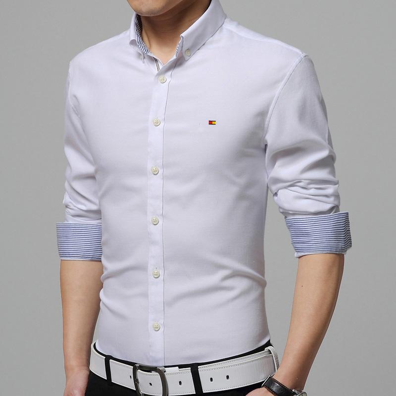 Slim fit white shirt men long sleeve brand new oxford for Men oxford slim fit long sleeve shirt