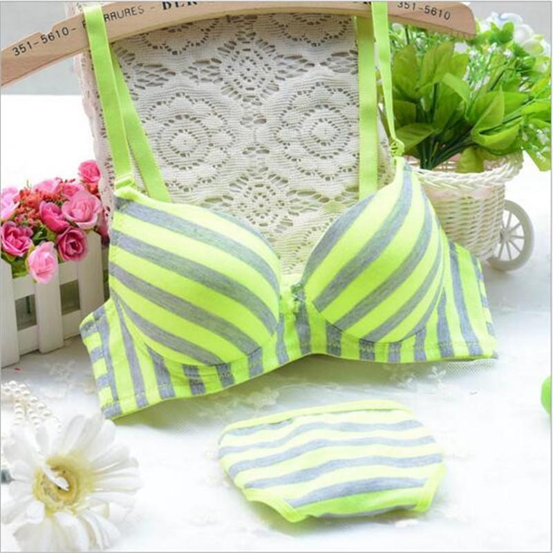 Comfortable cotton 2016 100% neon stripe underwear double breasted jacquard bra set Hot brand - South China Underwear 1st Manufacturer store