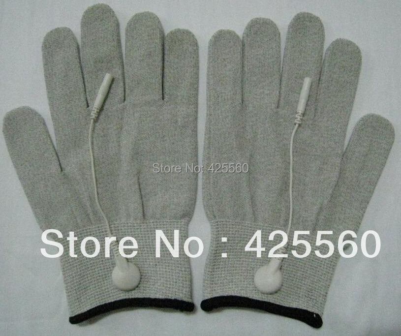 200 Pairs Conductive Electrode Massage TENS Gloves With Short Cables Use For TENS/EMS Machines(China (Mainland))