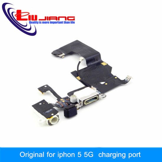 100% Original Quality Dock Connector USB Charging Port For iPhone 5 With Headphone Jack Tail Plug Flex Cable White/Black(China (Mainland))