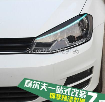 Black Headlights Eyebrow Eyelids ABS Trim Emblem FIT VW MK7 GOLF 7(China (Mainland))