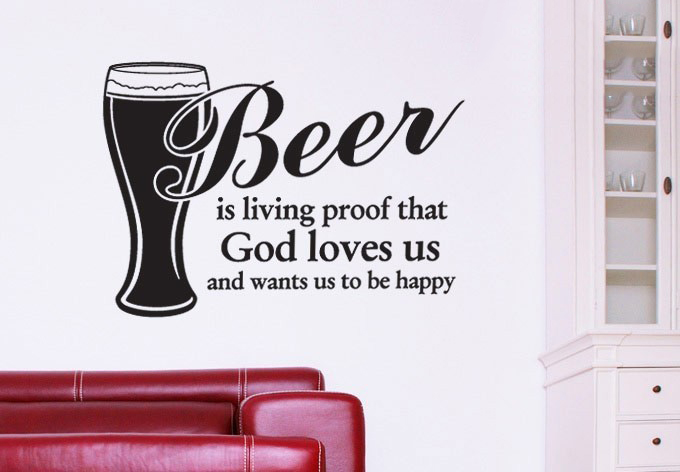 Beer is living proof Wall Stickers Wall Art Decal Sticker Quote Wallpaper,Kitchen Decor Home Decoration(China (Mainland))