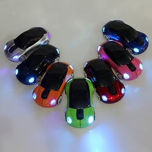 New Mini 2.4Ghz 1600DPI 10m Wireless Car Shape Colorful USB LED Optical Mouse Mice For PC Laptop Notebook Free Shipping(China (Mainland))