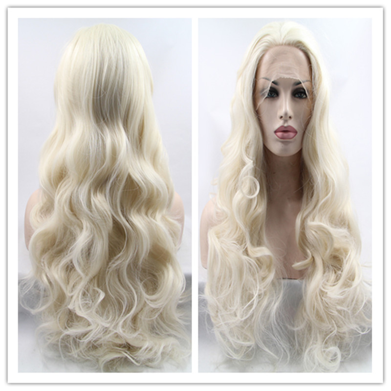 2016 Hot Sale Термоустойчивый Wigs for White Women Loose Curl синтетический Lace Front Wigs for Women