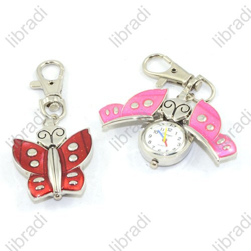 1pcs Butterfly Children Baby Lady Girl Pocket KeyChain or Nacklace Watch(China (Mainland))