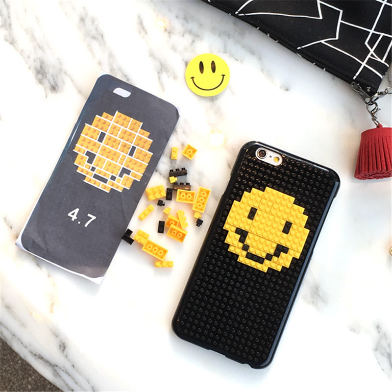 Funny blocks toy bricks Phone Case For Phone Korean Smile Face Heart play Covers for iphone 6s 6Plus(China (Mainland))