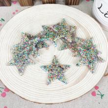 Kawaii Flatback DIY Multi Colors Star With Glitter Resin Cabochons Flat Back Decoration Hair Bow Embellishments
