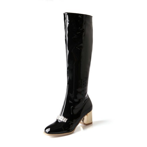 4 color high quality patent leather spring square heel shoes new arrives fashion women's knee-high boots Z1-HZH-5-1