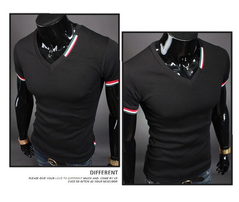 Men's Tops Tees 2016 summer casual cotton v neck short sleeve t shirt men fashion trends fitness tshirt free shipping
