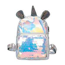 Yogodlns Блестящий рюкзак с пайетками для девочек-подростков, милые лазерные рюкзаки с ушами единорога, женские сумки на плечо, женские Мини-сер...(China)