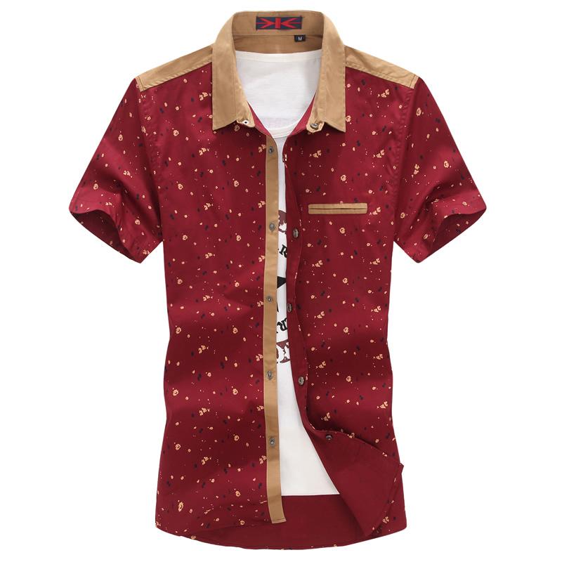 Free shipping 2015 Summer floral man shirt casual patchwork shirts shorts sleeve cotton men shirts plus