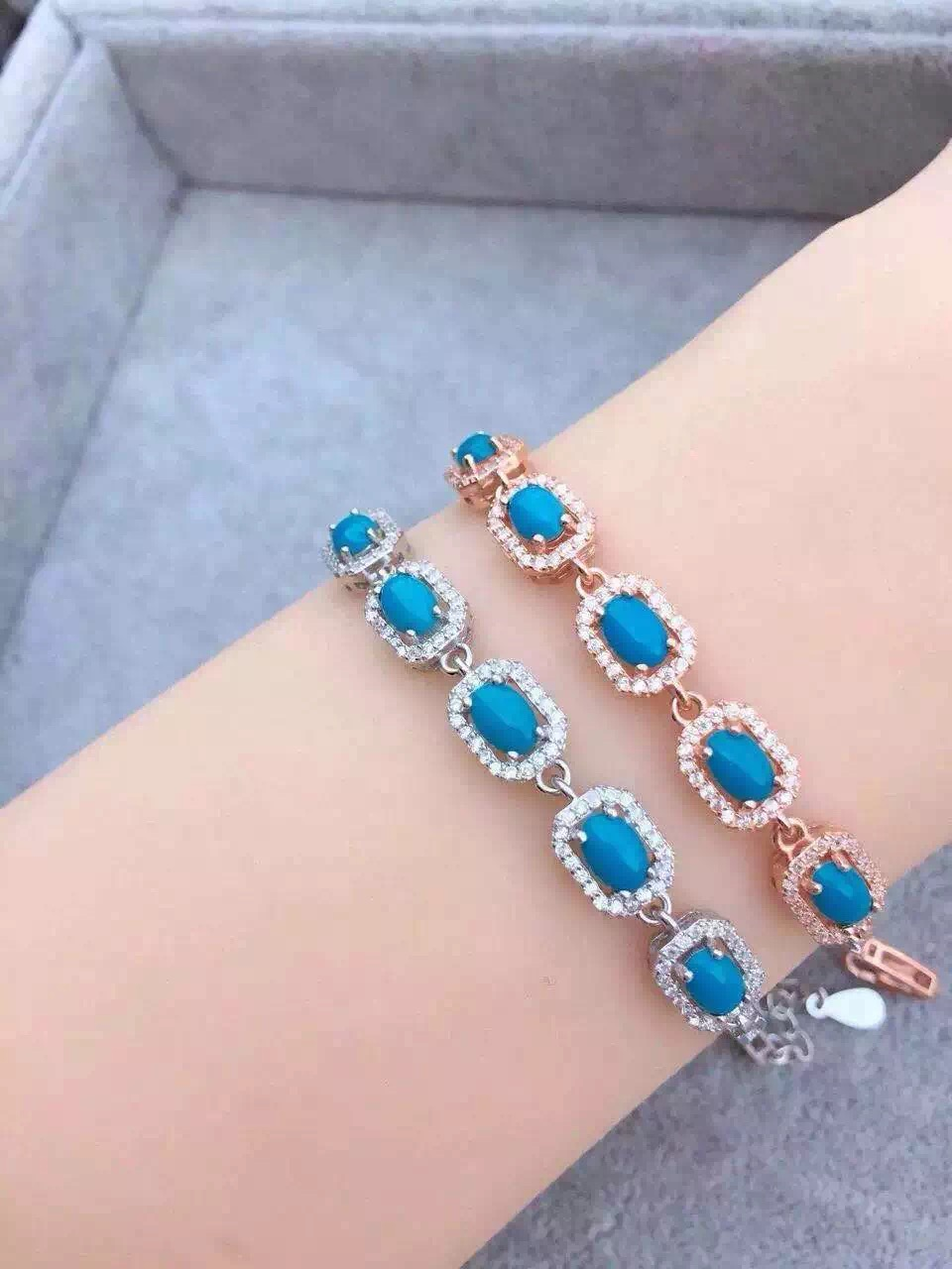 Fashion Simple Square natural green turquoise bracelets 925 sterling silver natural gem stone bracelet women party fine jewelry<br><br>Aliexpress