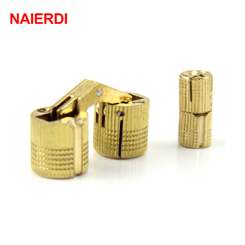 NAIERDI 4PCS 14mm Copper Barrel Hinges Cylindrical Hidden Cabinet Concealed Invisible Brass Door Hinges For Furniture Hardware(China (Mainland))