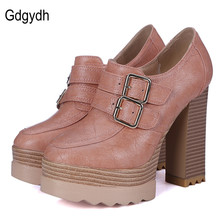Gdgydh 2017 New Spring Autumn Thick High Heeled Pumps Woman Round Toe Lacing Female Platform Shoes Casual Office Lady Shoes 42(China (Mainland))