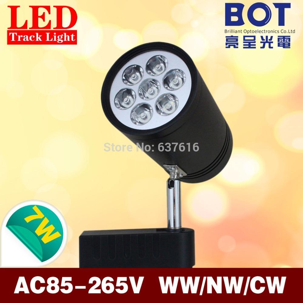 7*1W Led Track Light Nature/Cool/Warm White AC85-265V Dark color boutique store/clothe shop/stage/pavilion track lighting(China (Mainland))
