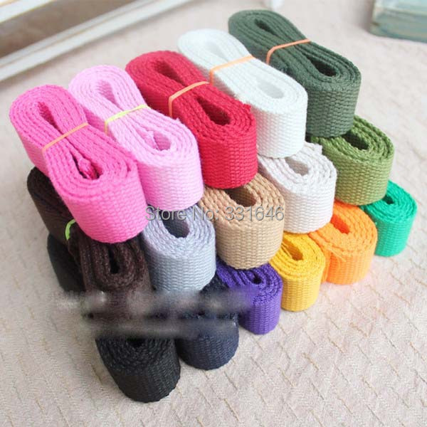 20m/lot 2.5cm 16 Colors Canvas Ribbon Belt Cotton Webbing/Lable Ribbon/Bias binding tape for Diy bag,craft projects(China (Mainland))