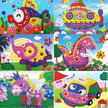 12 Patterns Kids Foam Mosaic Stickers Art Puzzle DIY 3D Diamond Pasted Cartoon Character Children's Educational Toy(China (Mainland))