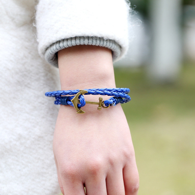 2016 hot selling New punk style fashion anchor Leather Bracelet hand woven Bracelet Charms layered wrist hand chain free ship(China (Mainland))