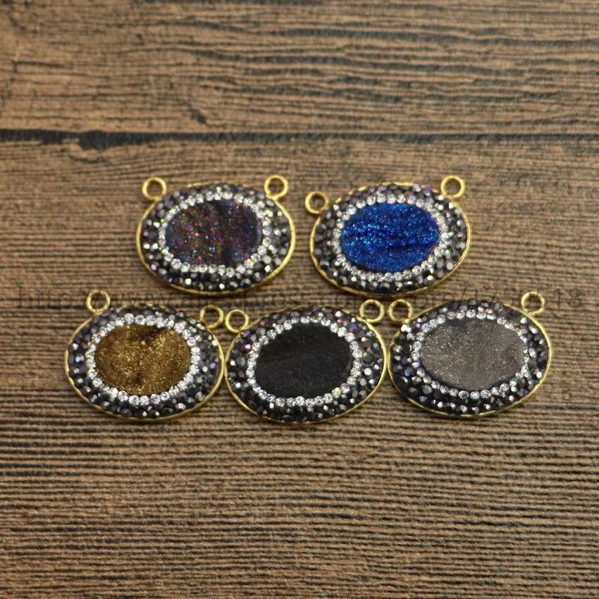 Natural agate quartz Titanium druzy pendant handcrafted bezel gold plated pave cz around multi color pendant bead connector 177(China (Mainland))
