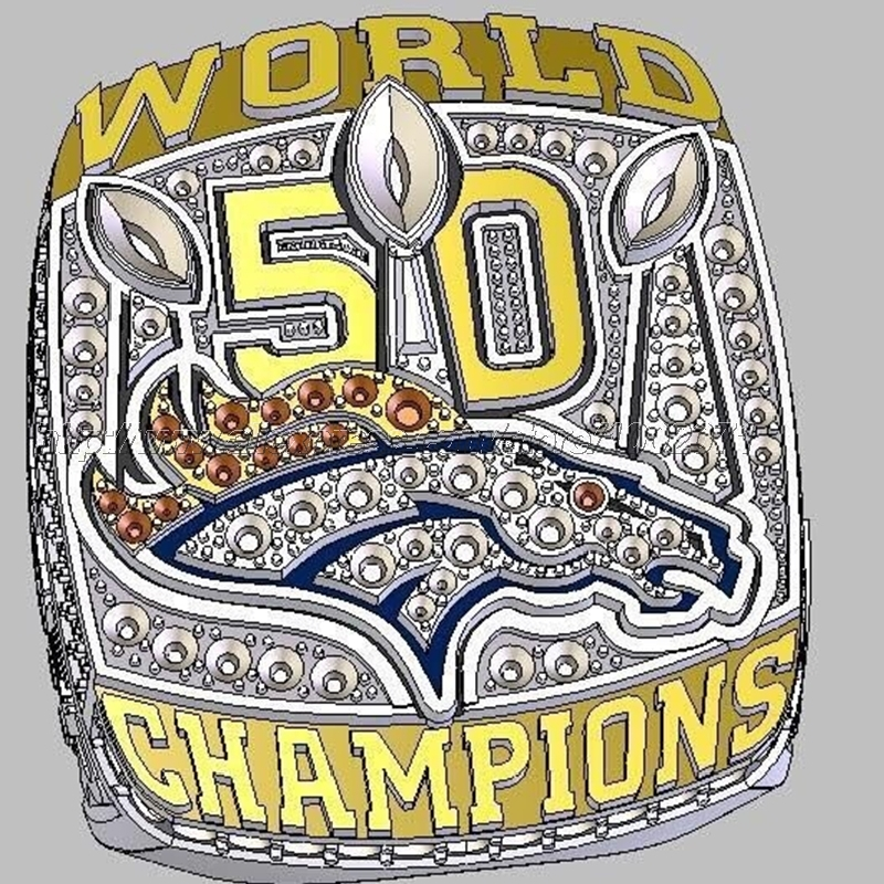 PreSale 2015 2016 Denver Broncos 50 Championship Ring Replica Super Bowl Football Rings Size 8-14 USA Men MANNING Fan Gift HC50(China (Mainland))