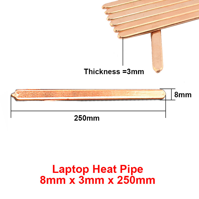 2pcs/lot 8x3x250mm Flat Copper Heat pipe Heat sink Radiator Cooling,Laptop CPU GPU Video Card DIY Oblate Tube Heatpipe(China (Mainland))