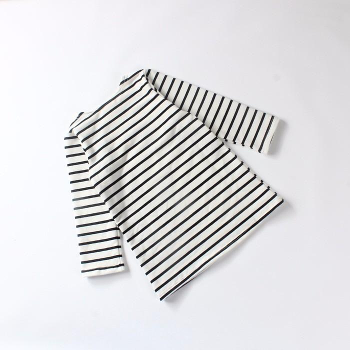 Autumn Winter Baby Girls Long Striped Dress Shirt Suit Mother Daughter Kids Striped Dress Wtih Velvet Black White Newborn 9M-3T (8)